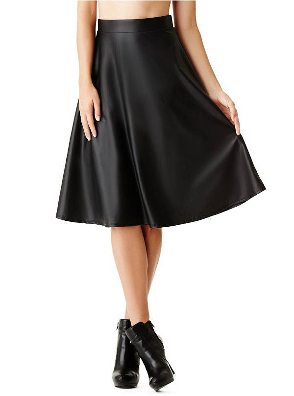 Guess Delilah Black Faux Leather A Line Midi  Skirt Size L