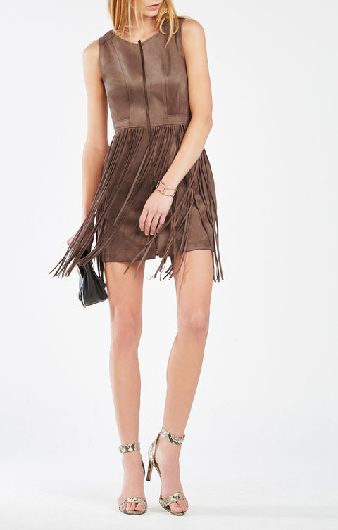 "Brand New BCBG Max Azria ""Hamin"" Brown Suede Fringe Dress Size 4"