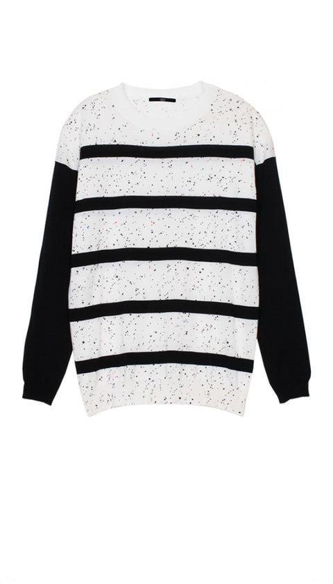 Tibi Black & White Stripe Splatter Dot Pull-Over Sweater Size M