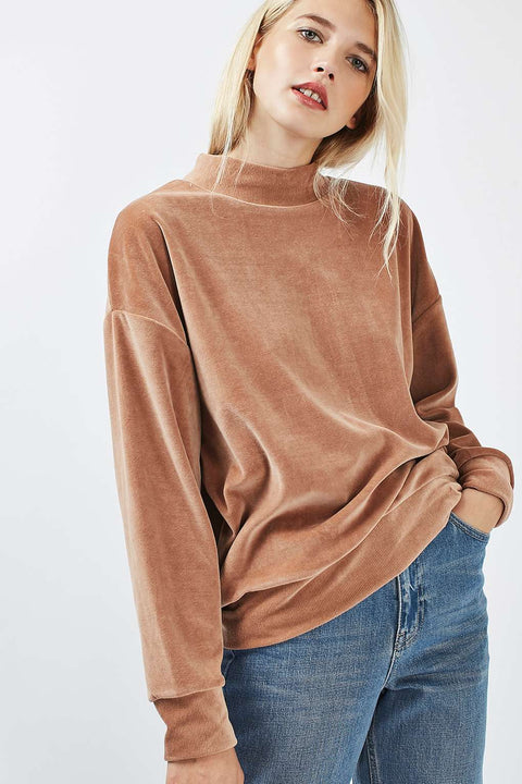 TopShop Tan Velour Crewneck Sweater Size 6