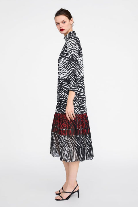 Brand New Zara Zebra Print Maxi Dress Size XL