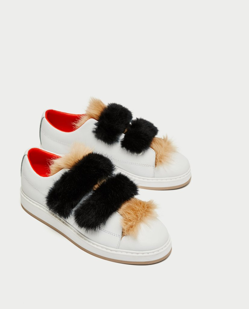 Brand New Zara White Leather Faux Fur Sneakers Size 39