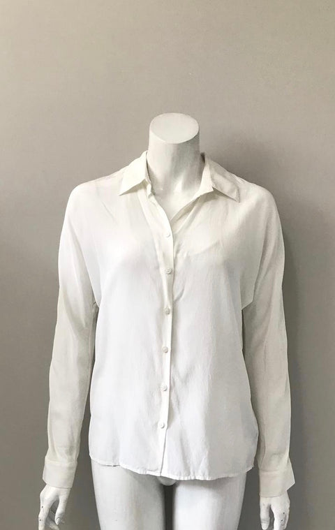 Guess by Marciano Silk Off White Button Up Blouse Size XS
