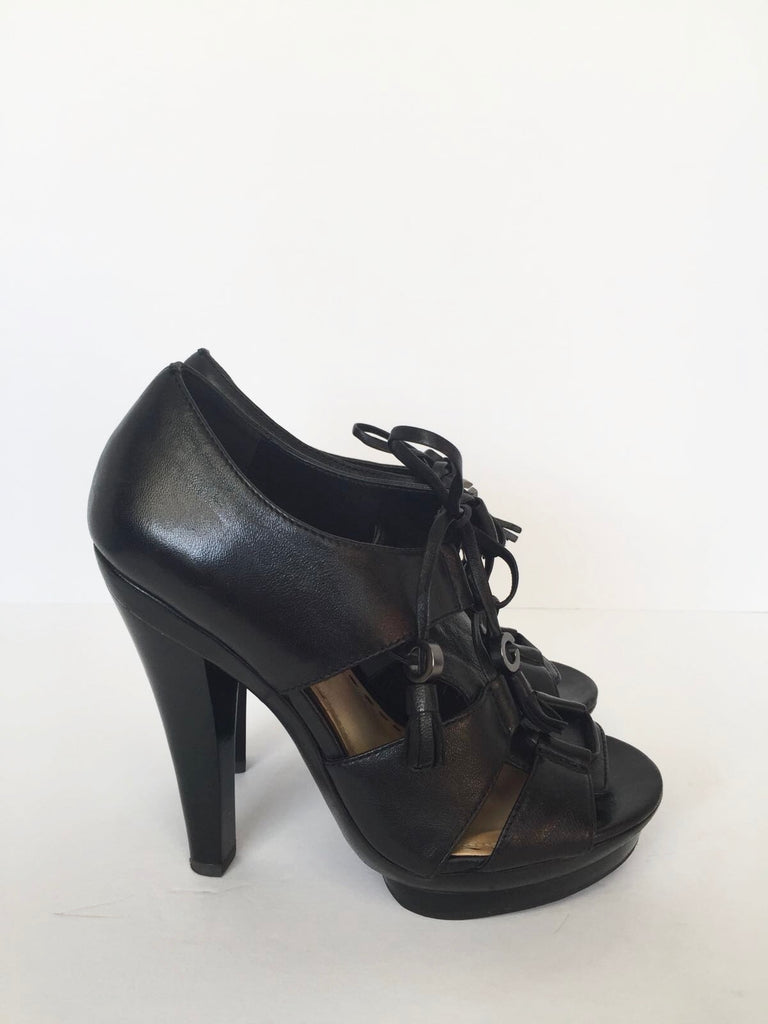 "Coach "" Teagan"" Black Soft Leather Tie-Up Sandals Size 5"