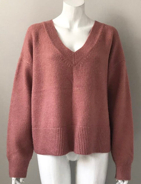 Evernew Salmon Pink V Neck Sweater Size M