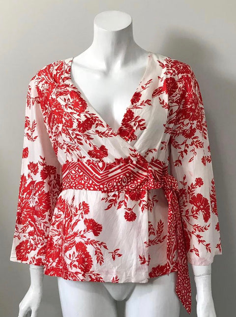 Clarlisle Red & White Leaf Print Silk Blouse Size 4