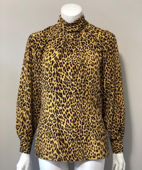 Vintage JH Collection Yellow Cheetah Mock Neck Blouse Size 4