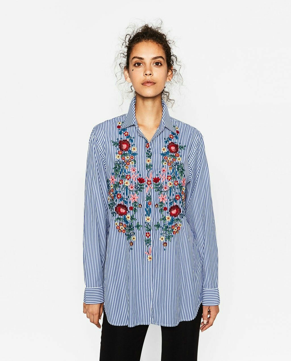 Zara Blue Stripe Oversized Embroided Shirt Size S