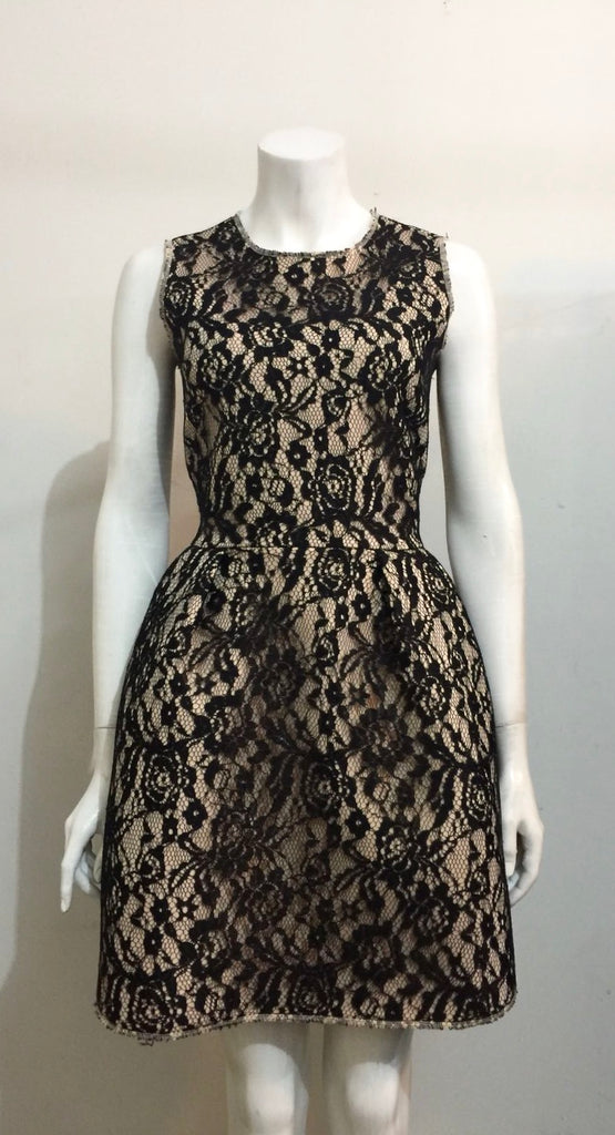 H&M Black Neoprene Lace Dress Size 12