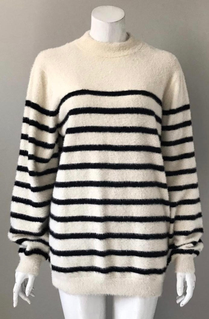 MNG Cream & Navy Stripe Sweater Size S