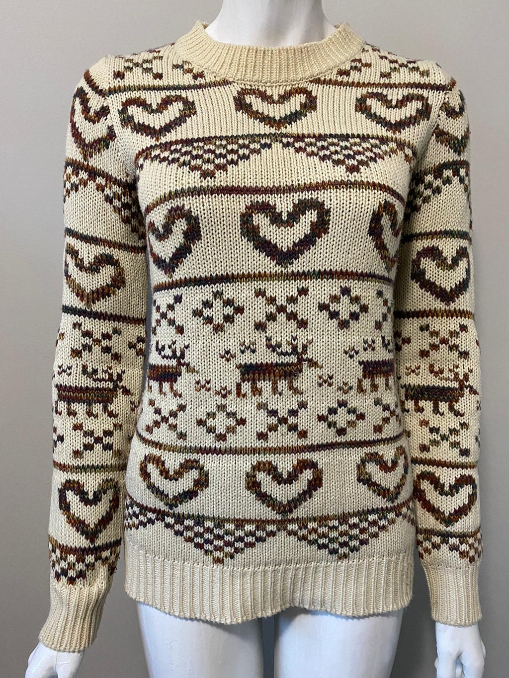 QED London Brown Reindeer Print Sweater Size M