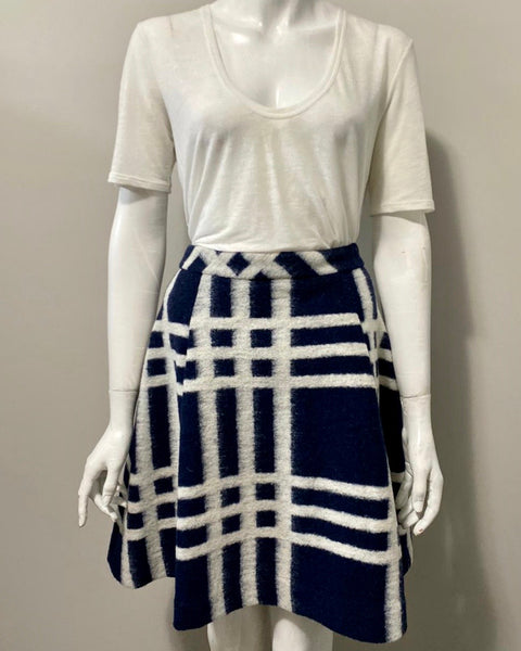 Pink Tartan Cream & Navy Pattern Skirt Size 6