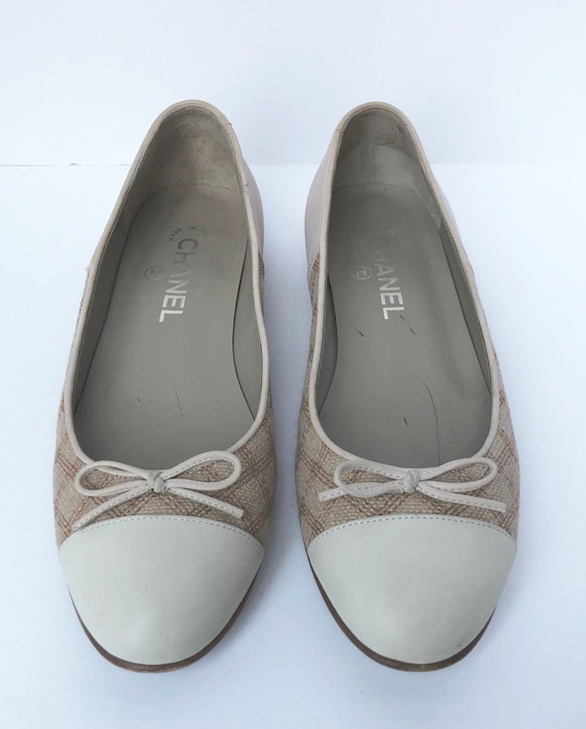 Chanel Cream Leather & Tweed Ballet Flats Size 37.5