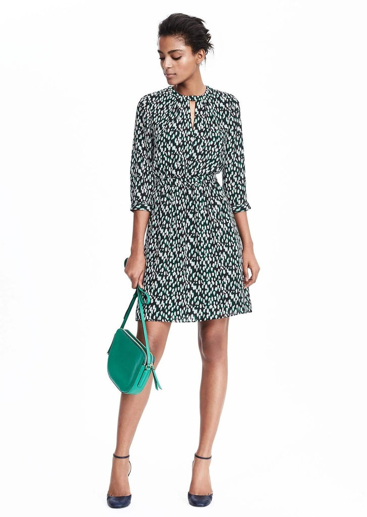 Banana Republic Green Print Key Hole Dress Size 14