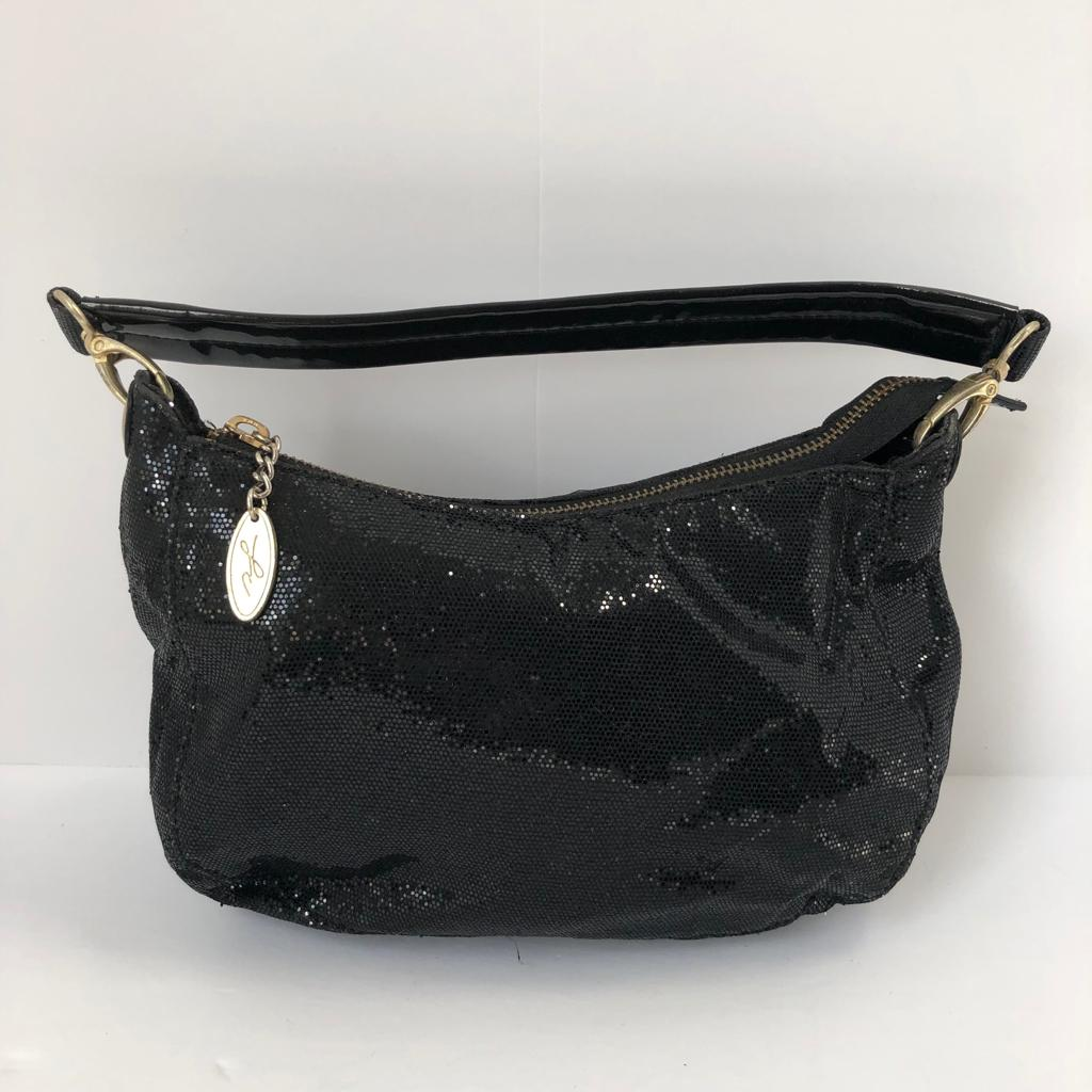 French Connection Black Glitter Small Handbag