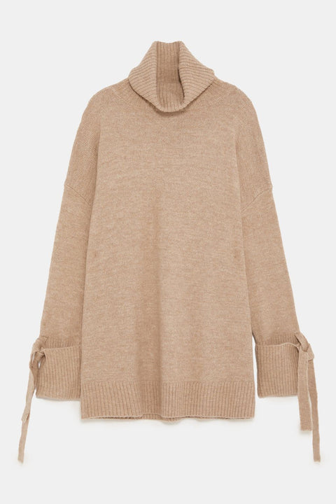 Brand New Zara Biege Turtleneck Oversized Sweater Size S
