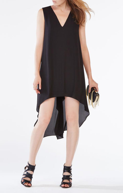 BCBG Max Azria Black Assymetrical Hem Dress Size S