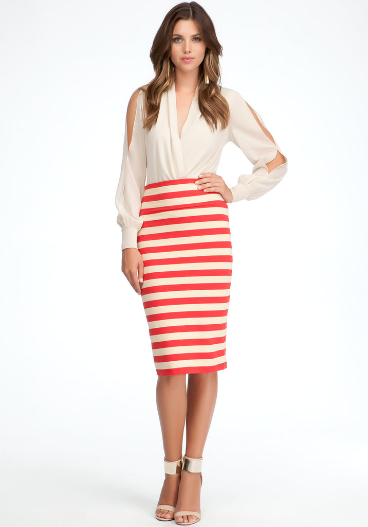 Bebe Red & Taupe Stripe High Waisted Midi Skirt - Joyce's Closet  - 1