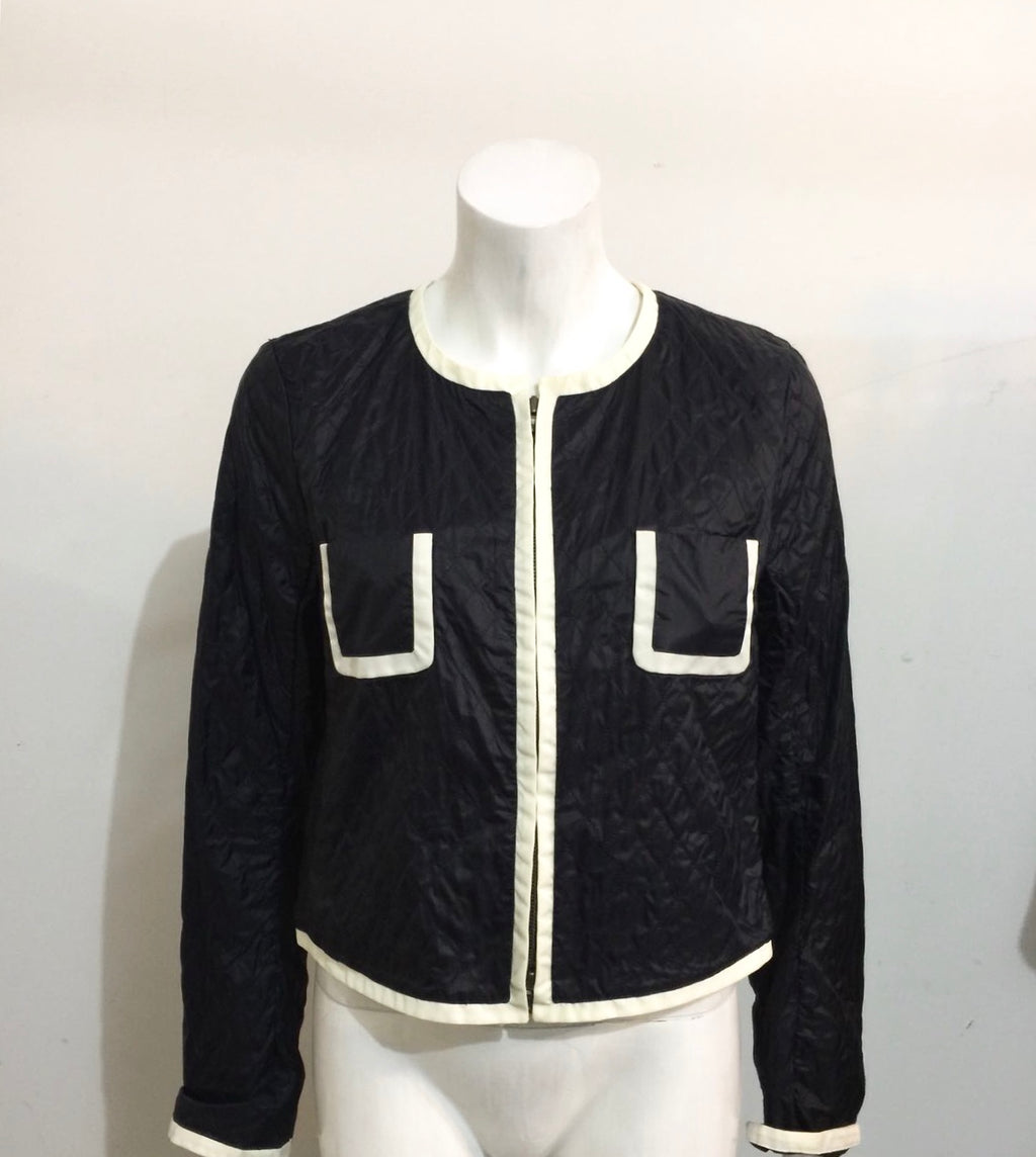 Club Monaco Black & White Quilted Zip Up Crop Jacket Size L