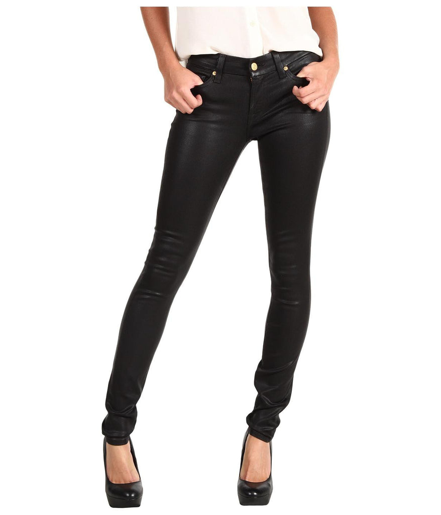 Seven For All Mankind Women's High Waist Skinny Jeans In Black Metallic Twill - Joyce's Closet  - 1