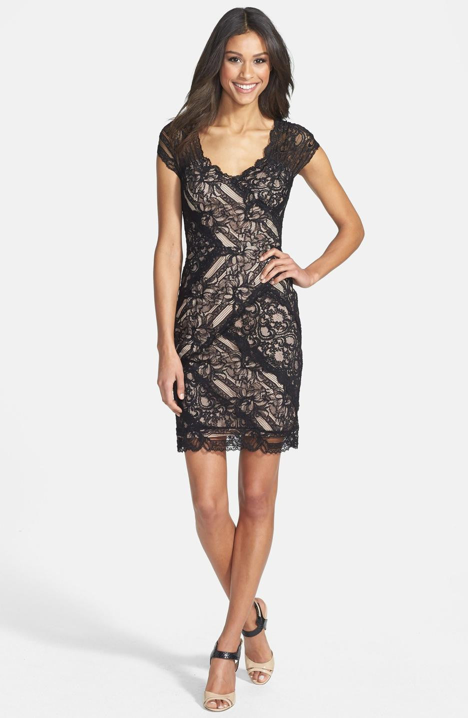 Nicole Miller Black Lace Cap Sleeve Dress - Joyce's Closet  - 1