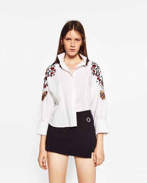 Zara White Floral Embroided Button Up Shirt Size S