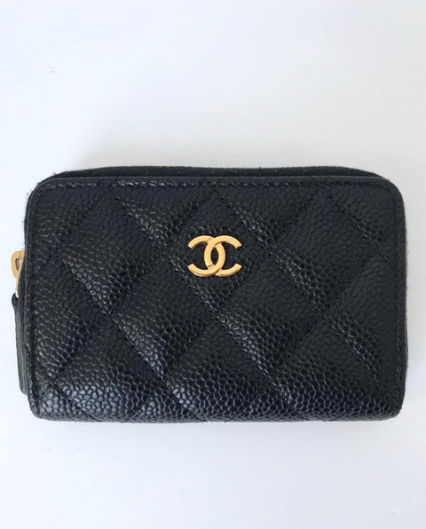 Chanel Black Caviar Leather Zip Around Card Holder Wallet