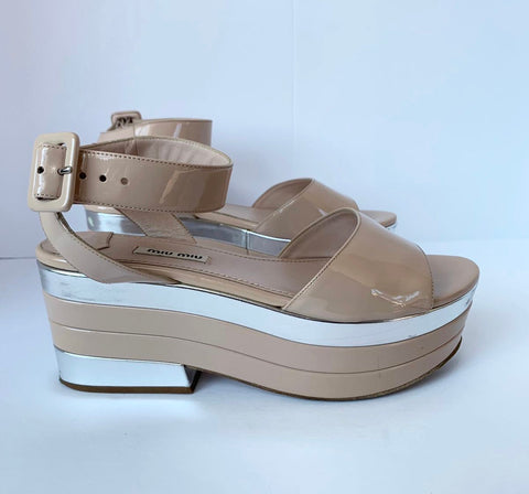 Miu Miu Nude Patent Leather Platform Sandals Size 38 US 7.5