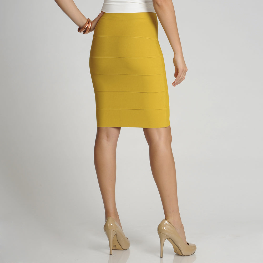 BCBG Max Azria Mustard Yellow Bandage Pencil Skirt Size L