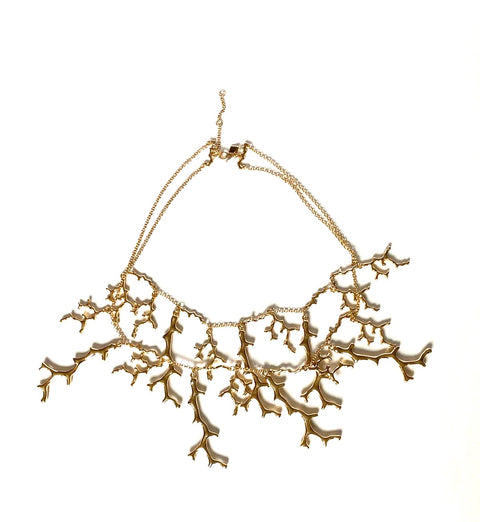 Gold Plated Antler Necklace