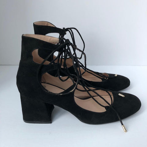 Zara Round Toe Block Heel Lace Up Pump Size 39
