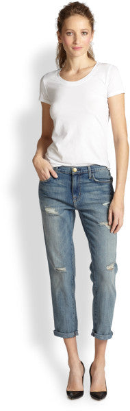 "Current Elliot "" The Fling"" Light Wash Boyfriend Distressed Jeans - Joyce's Closet  - 1"