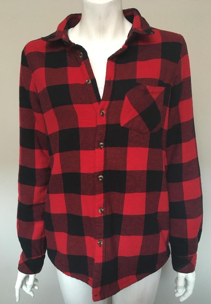 UK2LA Red Plaid Boyfriend Sweater Shirt Size M