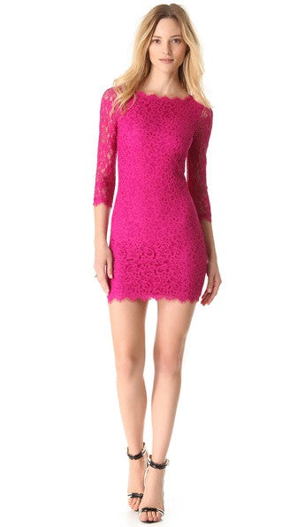 Brand New DVF Zarita Pink Lace Dress - Joyce's Closet  - 1