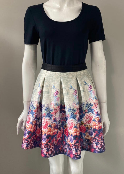 Silvian Heach Multi-Color Floral Print A Line Skirt Size S