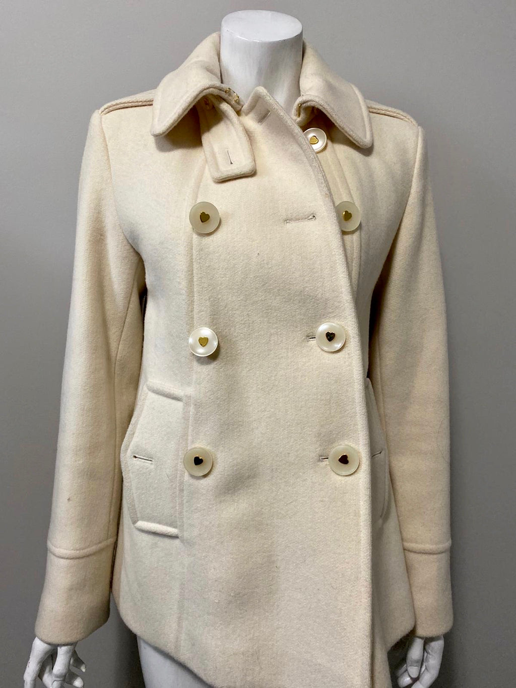 Betsey Johnson Cream Wool Coat Size 6