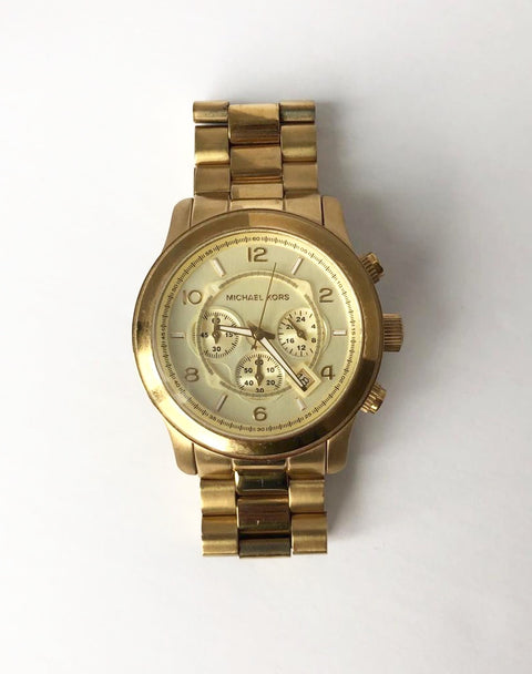 Michael Kors Large Gold Runway Chronograph Watch 8077