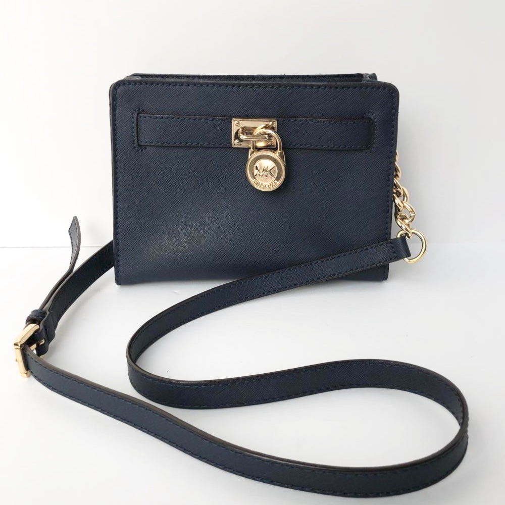 Michael Kors Navy Mini Hamilton Suffiano Tote
