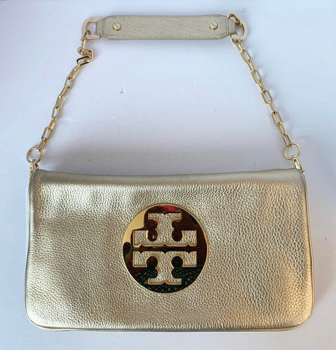 "Tory Burch "" Bombe Reva"" Metallic Gold  Leather Clutch"