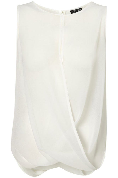 Topshop Cream Sleeveless Sheer Draped Blouse Size 10