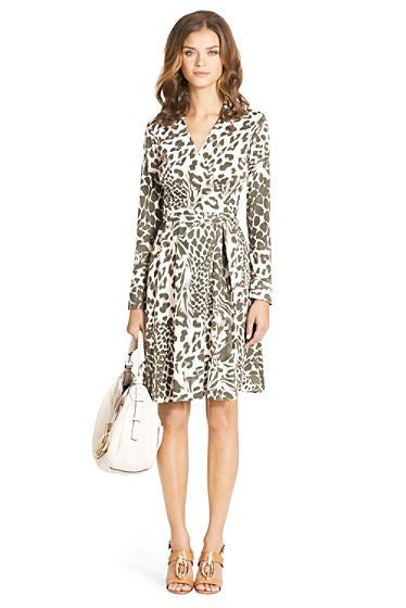 Diane Von Furstenberg T72 Green & Cream Animal Print Silk Wrap Dress Size 12