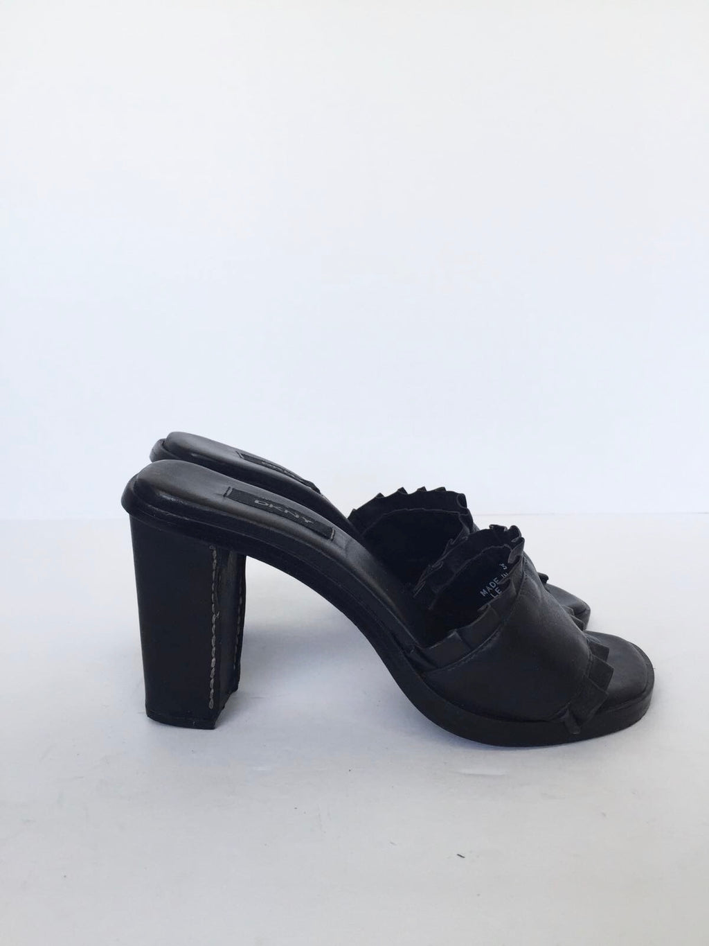 DKNY Black Leather Mule Sandals Size 5