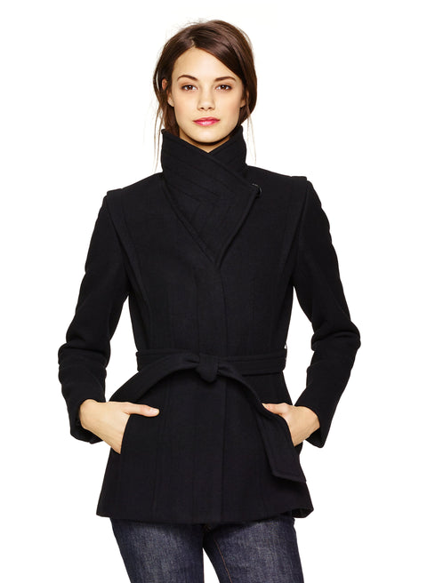 Babaton Spencer Black Wool Belted Coat Size XXS