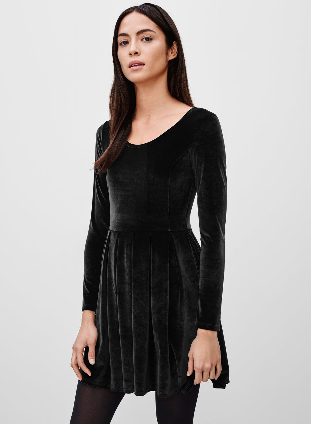 Talula Lambeth Black Long Sleeve Velour Dress Size S
