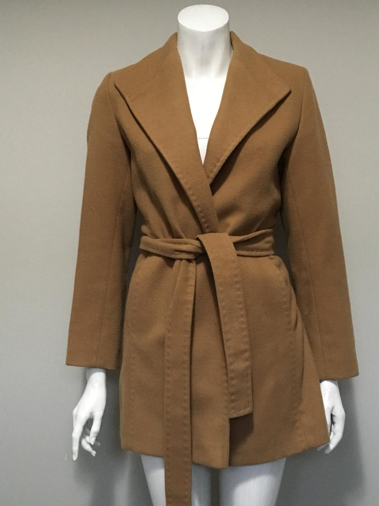 Cleo Petite Camel Belted Wool Coat Size 4