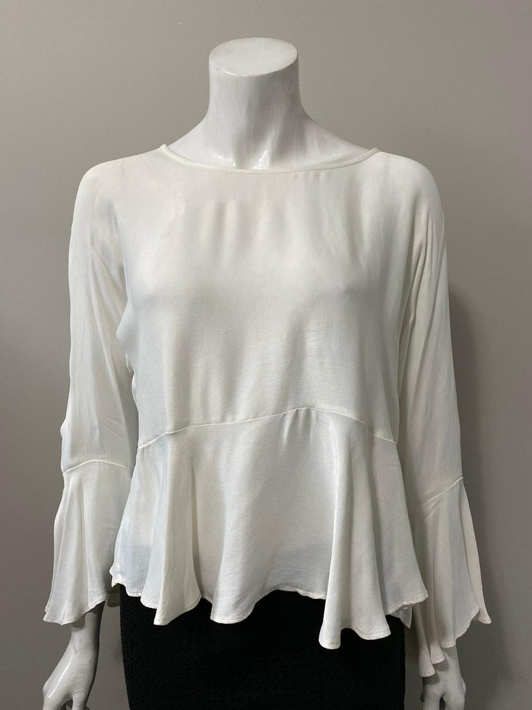 Zara Cream Bell Sleeve Blouse Size S