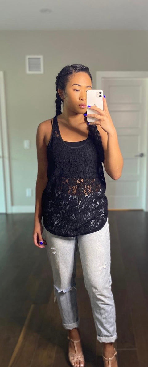Wilfred Black Lace Tank Top Size S