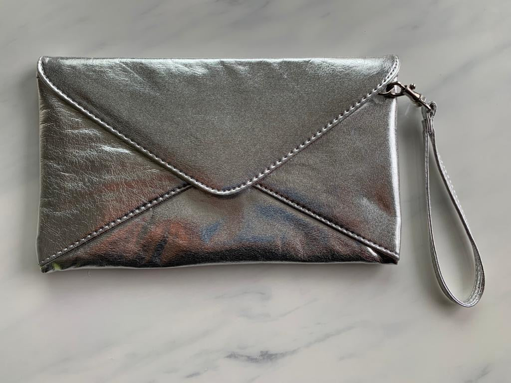 Aldo Silver Metallic Clutch