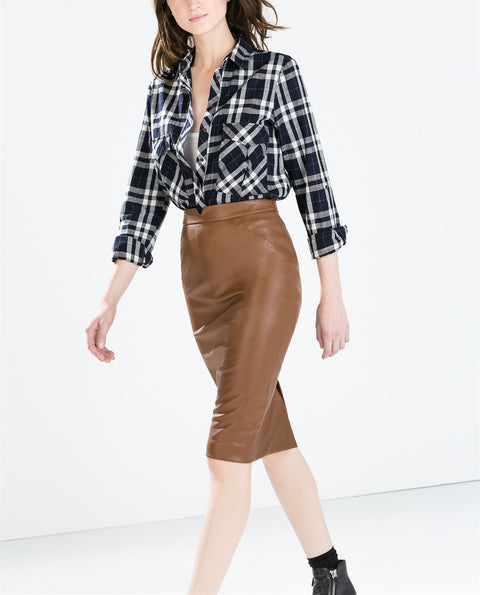 Zara Basic Brown Faux Leather Skirt Size XL