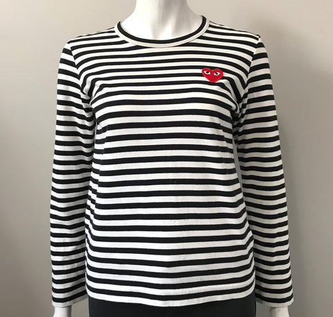 Commes De Garcon Black & White Stripe Shirt Size M